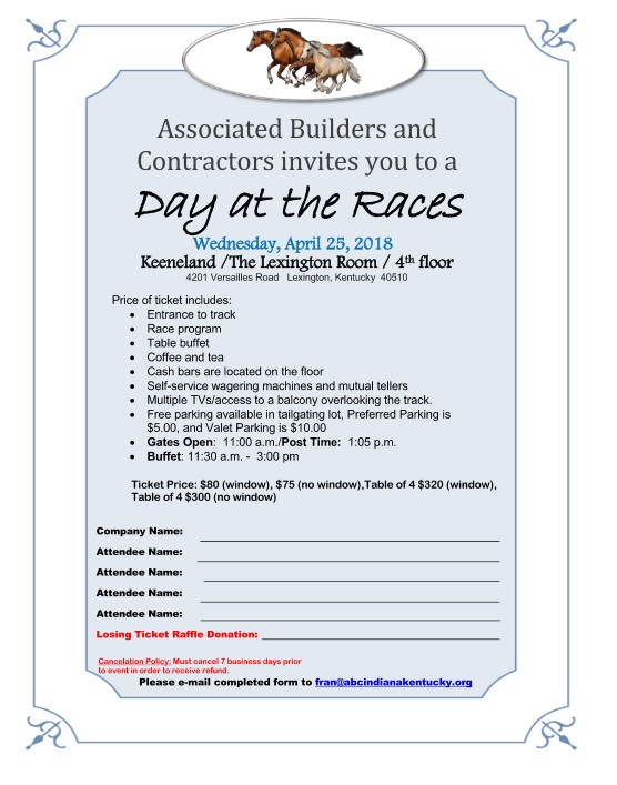 Associated Builders and Contractors of Indiana Kentucky | Day At The Races – Lexington, KY